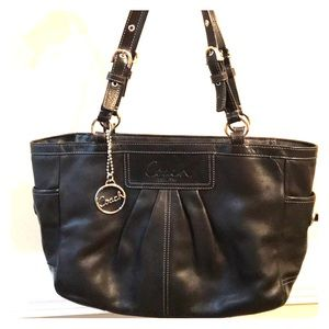 Coach authentic black leather tote handbag used